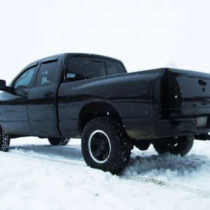 Stock Dodge 17's Painted Black With Chrome Lip